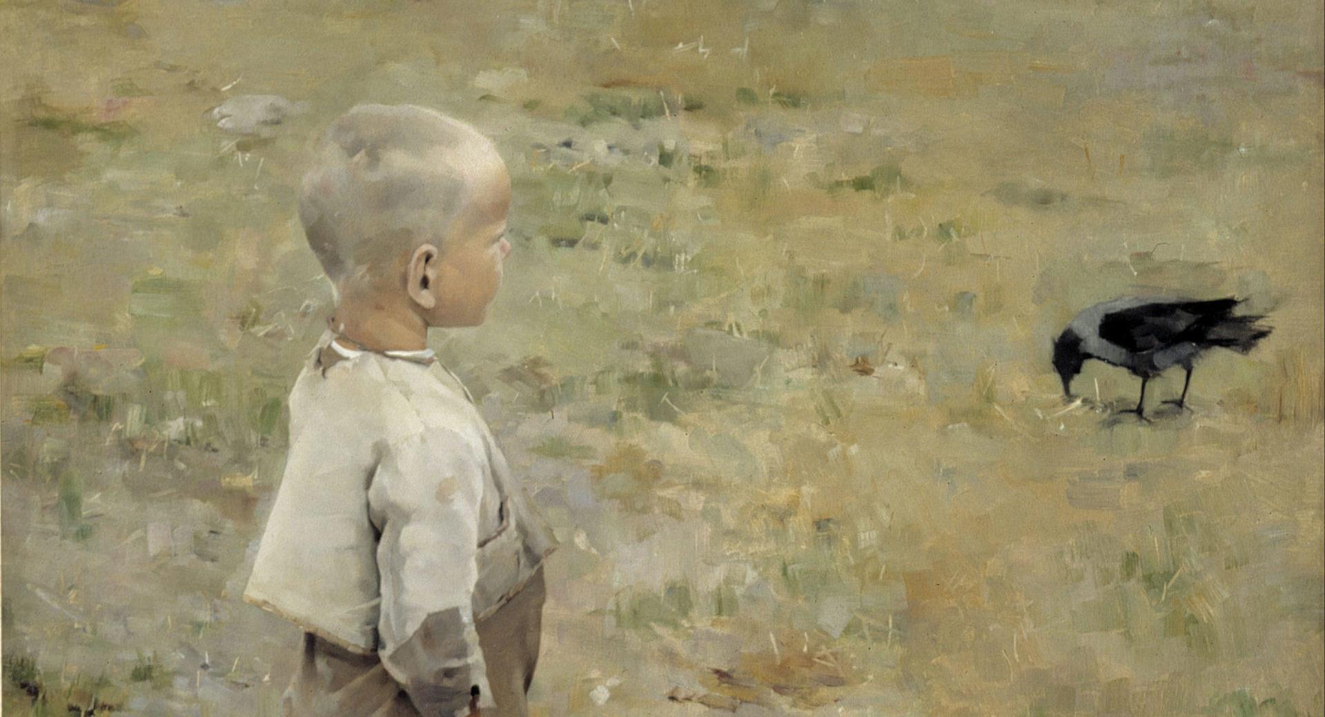 Фрагмент картиныАксели Галлен-Каллела«Мальчик и ворона», 1884.