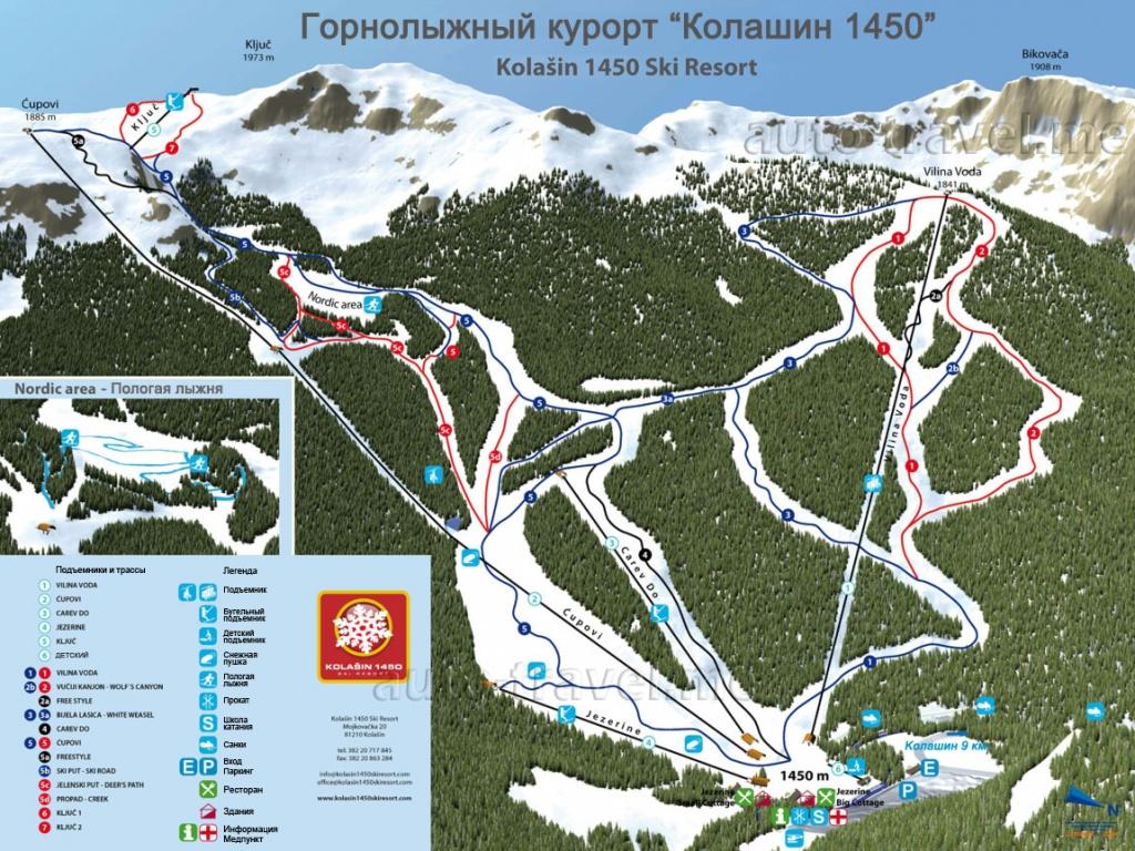 Схема трасс курорта Колашина