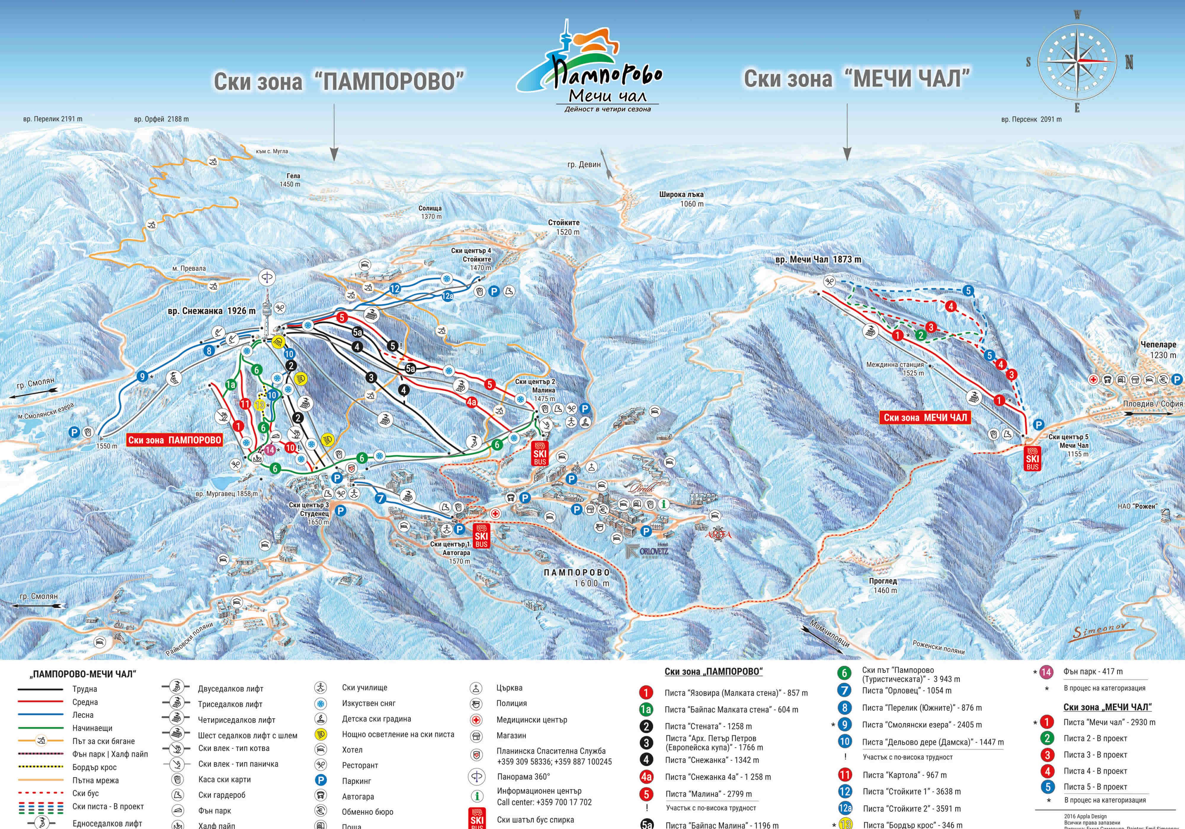 Карта трасс горнолыжного курорта Пампорово.