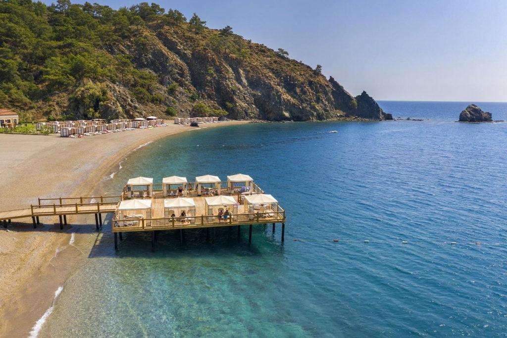 пляж у отеля rixos premium tekirova