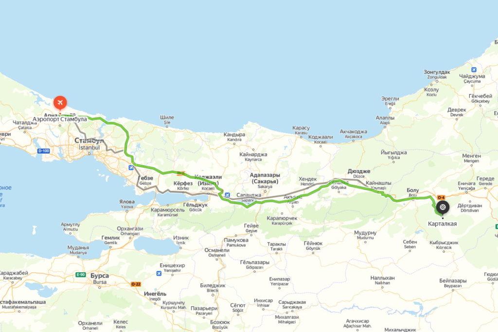 маршрут Стамбул-Карталкая